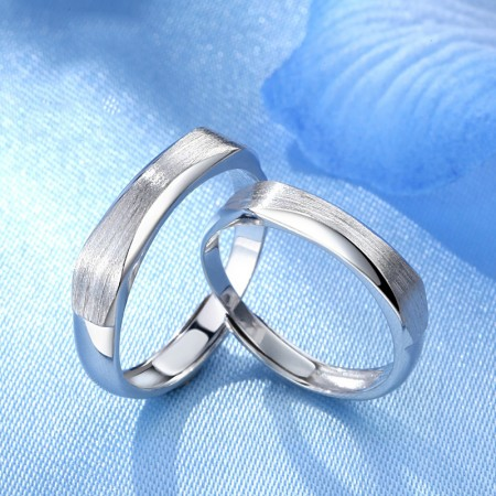 925 Silver Exquisite Polished And Handmade Matte Combined Couple Rings
