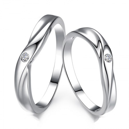 """""""Show Your Love"""" 925 Sterling Silver Fine Polishing Couple Rings"""