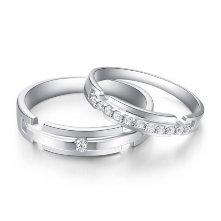 Delicate Process 925 Sterling Silver With Hand-Inlaid Cubic Zirconia Couple Rings