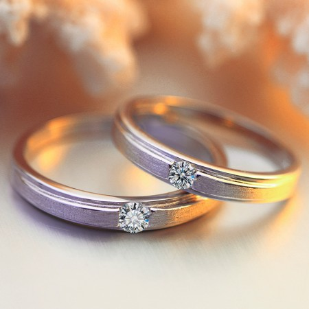 Exquisite Matte 925 Sterling Silver Inlaid Cubic Zirconia Couple Rings