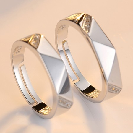 Creative Rhombic Inlaid Cubic Zirconia 925 Silver With Platinum Opening Couple Rings