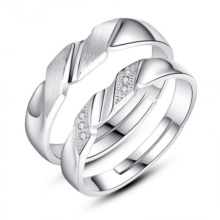 Korean Creative Delicate Matte With Cubic Zirconia 925 Silver Couple Rings