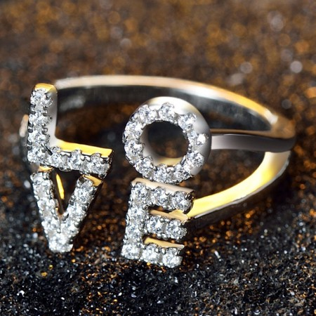 Exaggerated Personality Inlaid Shining Cubic Zirconia 925 Silver Hollow Engagement Ring