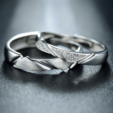 Fashion Luxury 925 Sterling Silver Romantic Opening Couple Rings
