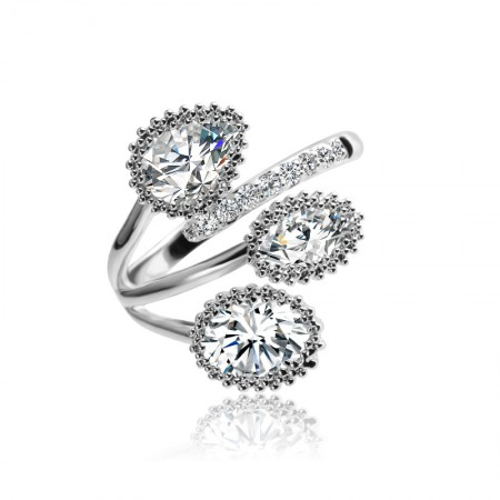 Fashion Minimalist Business Punk Alloy With Cubic Zirconia Cocktail Ring