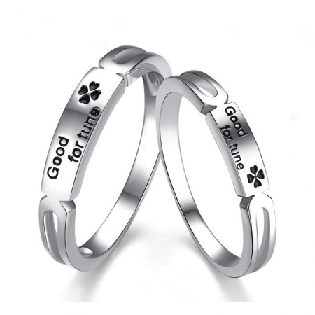 Korean Fashion Lettering 925 Sterling Silver Four-Leaf Clover Couple Rings