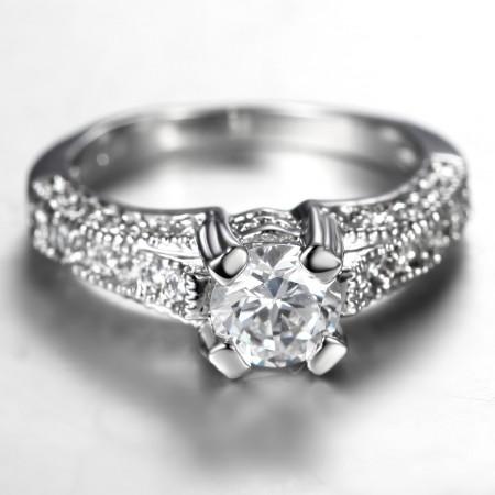 Personalized Fashion Quality Alloy Inlaid Luxury CZ Engagement Ring
