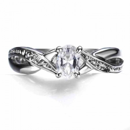 Europe Fashion Style Alloy Inlaid Oval CZ Engagement Ring