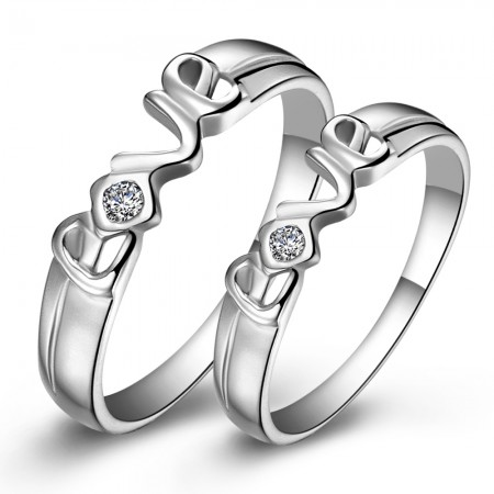 """Boutique New Hot Sale S925 Silver """"LOVE"""" Couple Rings"""