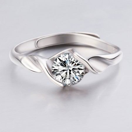 New Handmade Torsion Arm S925 Sterling Silver Engagement Ring