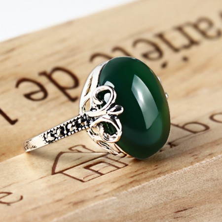 Palace Style 925 925 Sterling Silver Inlaid Natural Green Agate Woman'S Ring