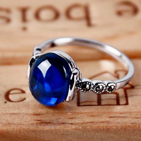 Retro Simple Slim 925 Silver Inlay Garnet Ring
