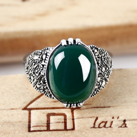 Vintage Classic 925 Sterling Silver Inlaid Oval Green Onyx Ring