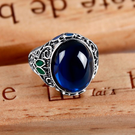 Retro Ethnic Style 925 Silver Filigree Cloisonne Enamel Inlay Sapphire Ring