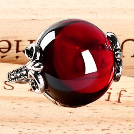 Palace Style 925 Silver Inlaid Natural Garnet Ruby Ring