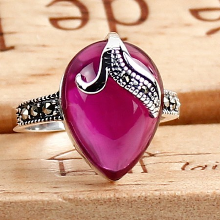 925 Sterling Silver Leaves Styling Inlaid Corundum Retro Ring