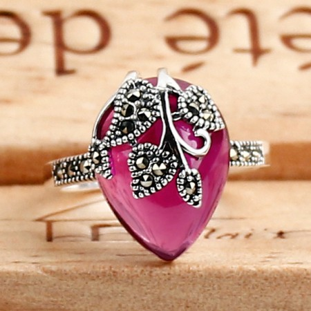 Hot Sale New 925 Sterling Silver Leaves Shape Inlaid Gemstone Ring