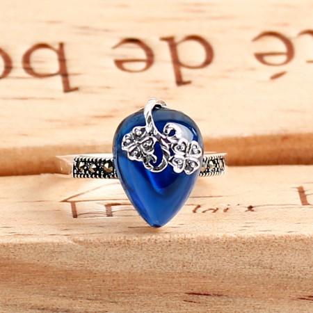 Creative Leaves Design S925 Silver Inlaid Corundum Ring