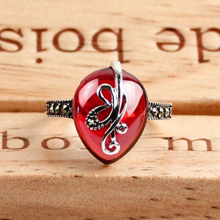 925 Sterling Silver Retro Squid Styling Inlaid Agate Ring