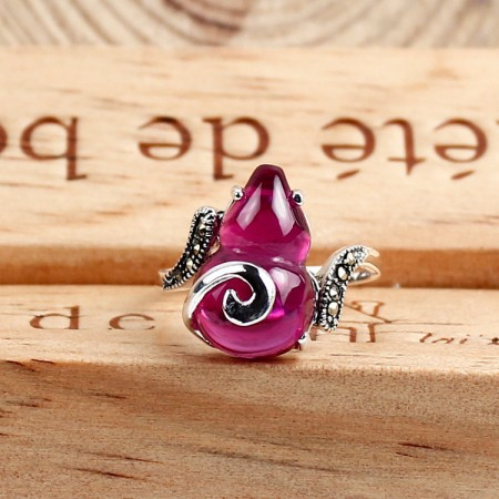 New Gourd Shape S925 Silver Inlaid Gemstone Women'S Ring