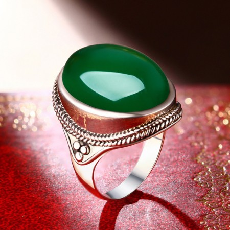 Retro Upscale 925 Sterling Silver Inlaid Natural Green Chalcedony Big Ring