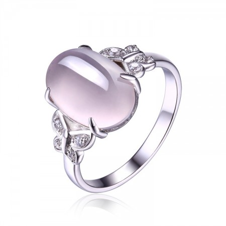 Elegant Fashion Exquisite Butterfly Edge S925 Silver Inlaid Ross Quartz Ring