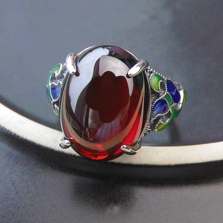 New Noble 925 Sterling Silver Cloisonne Inlay Garnet Women'S Ring