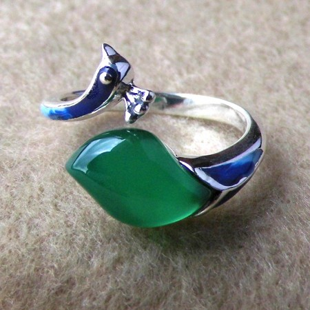 Creative Design 925 Sterling Silver Inlaid Stones Peacock Shape Ring