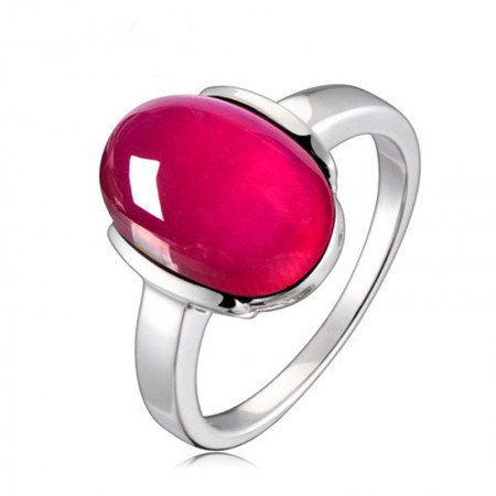 Simple Low-Key 925 Sterling Silver Inlaid Gemstone Ring