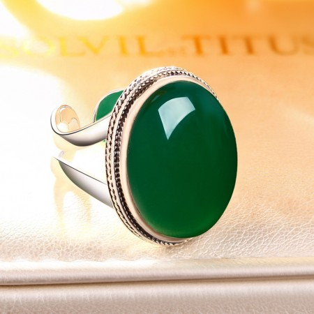 Fashion Design 925 Sterling Silver Inlay Green Chalcedony Opening Ring