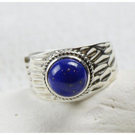 Retro Atmosphere 925 Sterling Silver Inlaid Natural Lapis Ring