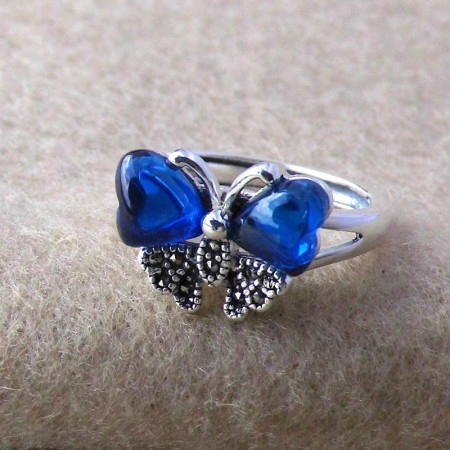 Charming Butterfly Style 925 Sterling Silver Inlaid Corundum Adjustable Ring