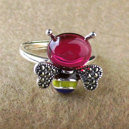 925 Sterling Silver Cute Bee Shape Inlaid Stones Opening Ring