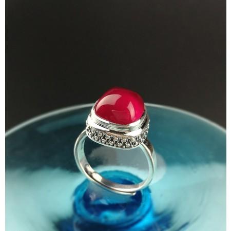 Red Corundum Original Design Sterling Silver Birthday Gift Lady's Ring