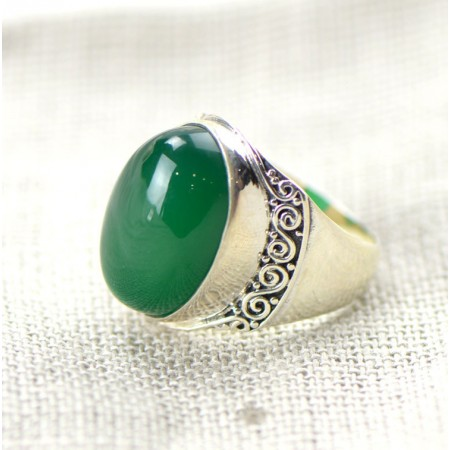 Wide Exaggerated 925 Sterling Silver Inlaid Natural Green Chalcedony Ring