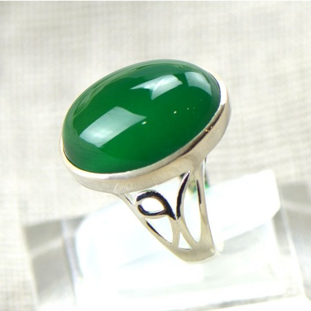 Retro High - Grade 925 Sterling Silver Inlaid Natural Green Chalcedony Ring