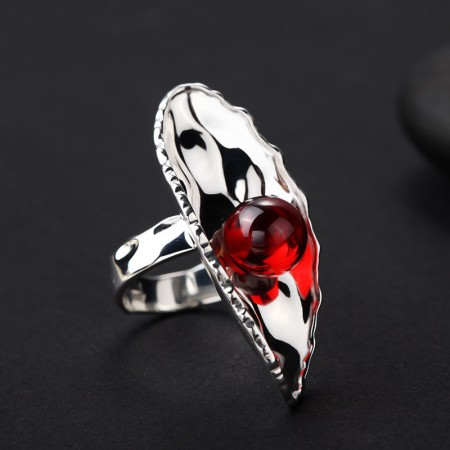 Exaggeration Atmosphere Water Ripples 925 Silver Inlaid Garnet Ring