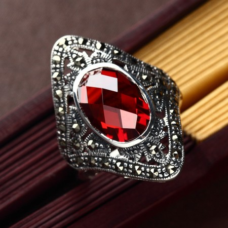 Retro Court Style 925 Sterling Silver Inlaid Ruby Ring
