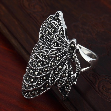 Personality Exaggerated Retro Butterfly-Shaped 925 Sterling Silver Ring