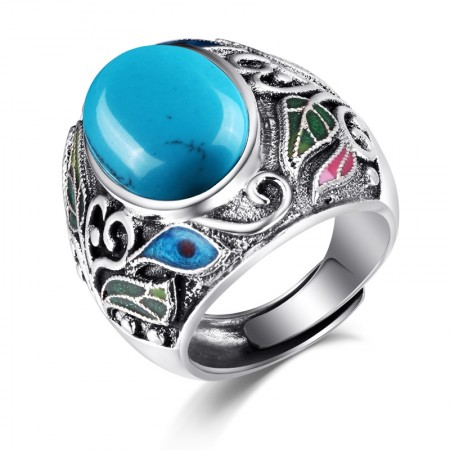 Retro Pattern Exaggerated Atmosphere 925 Sterling Silver Inlaid Gemstone Ring