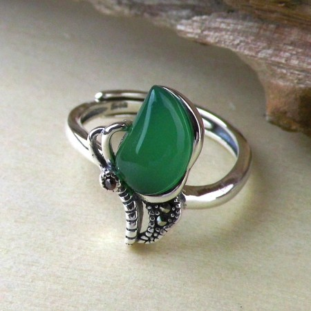 New Butterfly Style 925 Sterling Silver Inlaid Gemstone Opening Ring