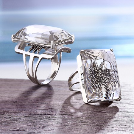 Europe Fashion 925 Sterling Silver Inlaid Natural White Crystal Square Ring(Price For One)