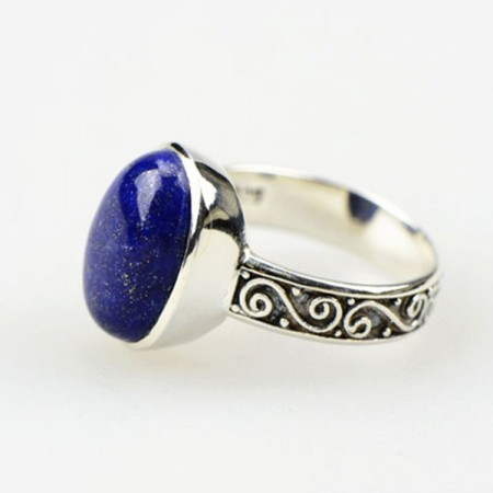 High-End Luxury S925 Sterling Silver Inlaid Lapis Lazuli Ring