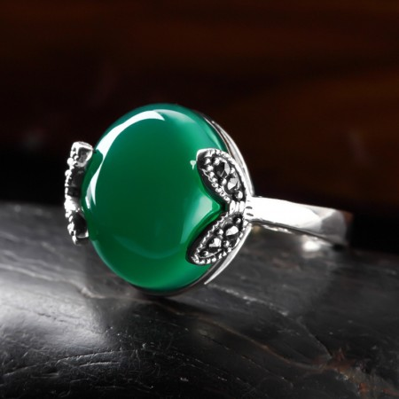 Simple And Elegant Leaves Styling 925 Sterling Silver Inlaid Gemstone Ring