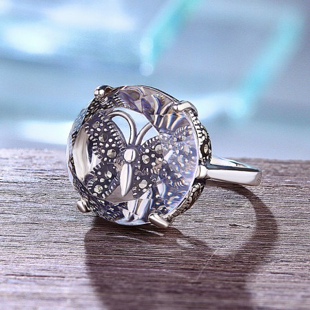Romantic Butterfly Love S925 Sterling Silver Inlaid Natural White Crystal Ring