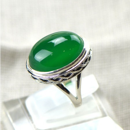 New High-Grade 925 Sterling Silver Wave Edge Inlaid Natural Green Chalcedony Ring