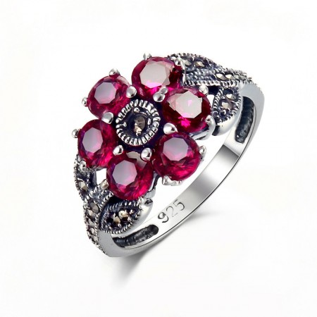 New Luxury Original 925 Sterling Silver Inlaid Gemstone Ring