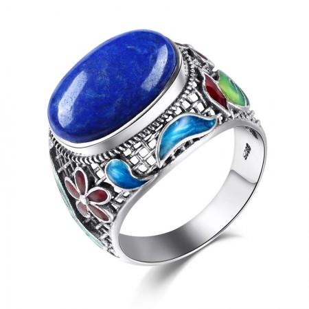 New Retro Pattern Sterling Silver Inlaid Natural Lapis Lazuli Ring