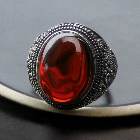 New Exaggeration Atmosphere 925 Sterling Silver Inlaid Garnet Opening Ring