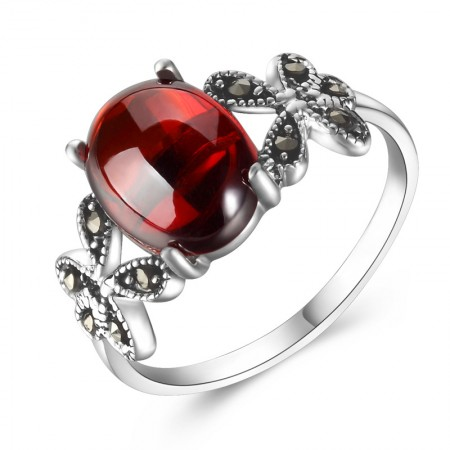 Charming Butterfly Style 925 Sterling Silver Inlaid Gemstone Ring